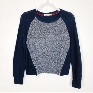 Rewind Blue and Gray Sweater with Zipper Design